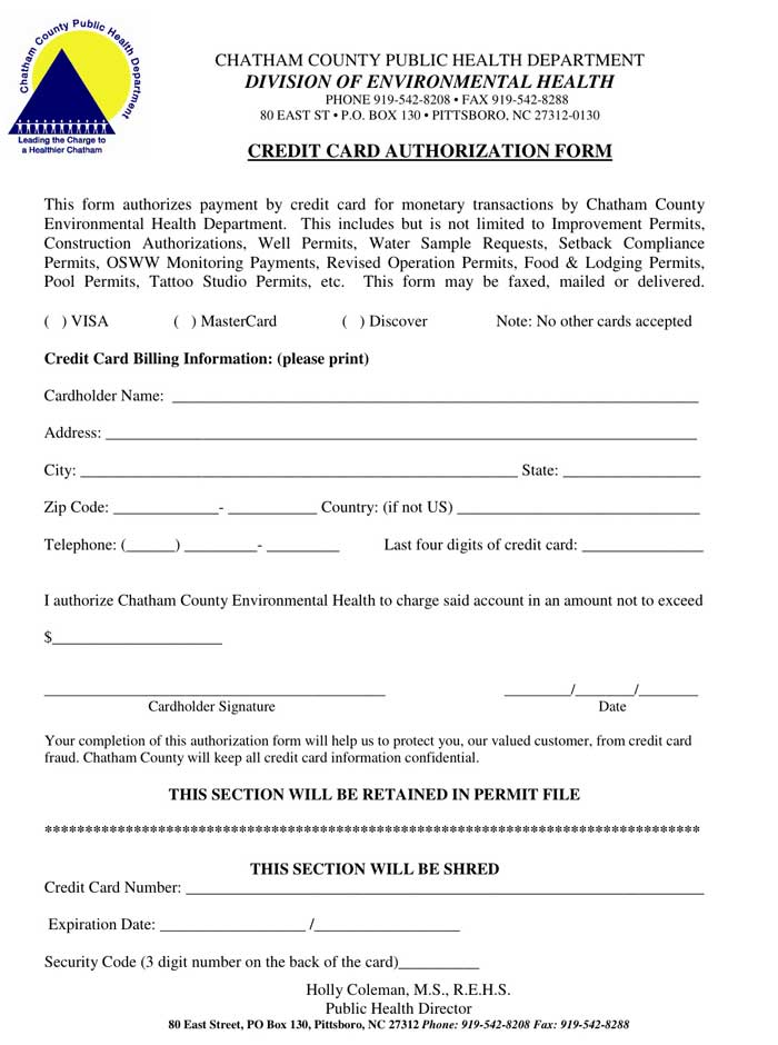 credit card authorization form chatham public health