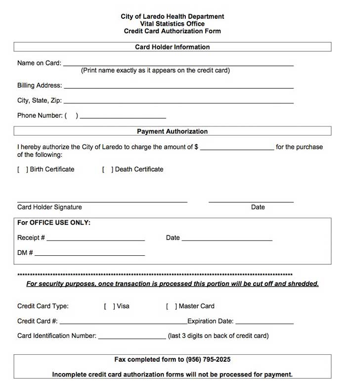 Free Recurring Credit Card Authorization Form  Pdf  Word
