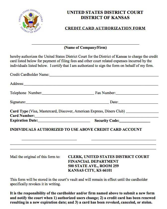 credit card auth form kansas