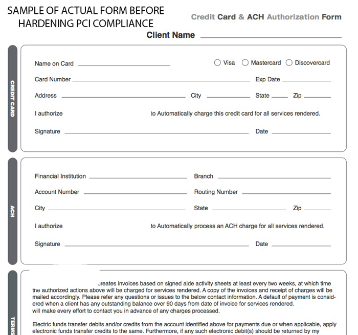 credit card authorization form healthcare