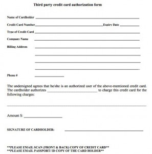 3rd party credit card authorization form