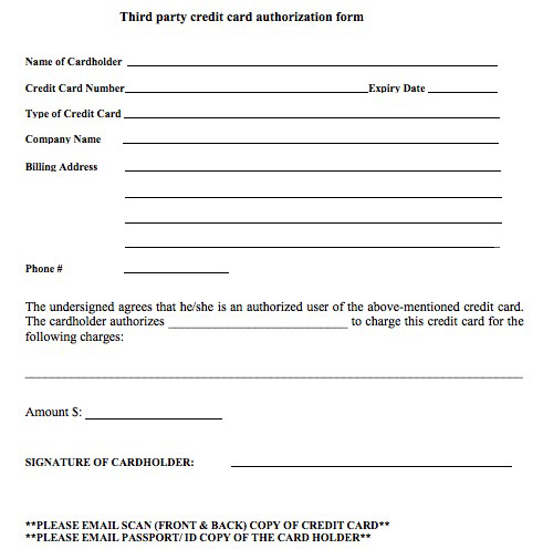 Rd Party Credit Card Authorization Form