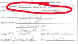 credit card authorization form pci compliant