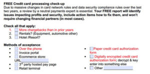 credit card transaction fee checkup form