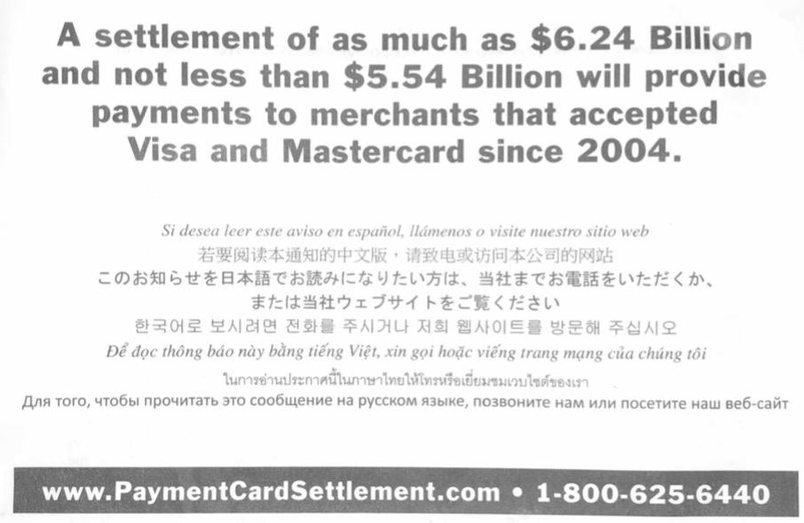 visa mastercar payment card settlment